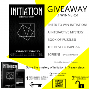 Enter to Win Initiation! An Interactive Book of Puzzles that takes the best of books and screen games and combines them for one BIG adventure! #PuzzlePause