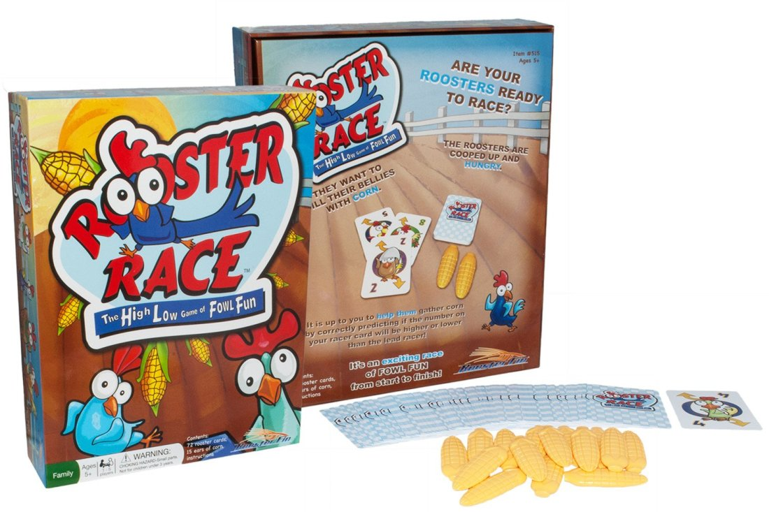 Help your roosters gather corn in this high low game of fowl fun! Rooster RaceTM is a fun simple card game that suits all ages, from kids, teens, college students, parents, and grandparents.