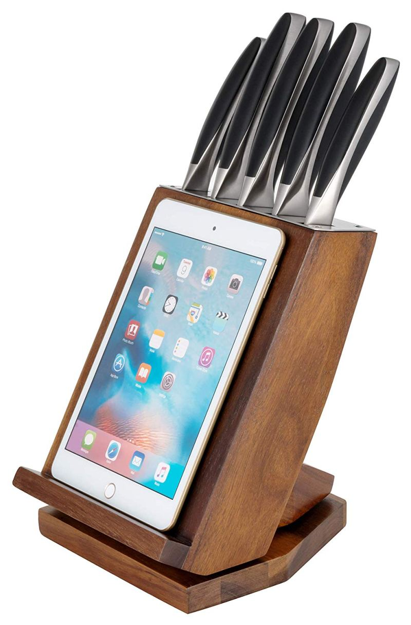 Ozeri OZK5 Knife Block Set, Various Sizes, Stainless Steel with Tablet Holder