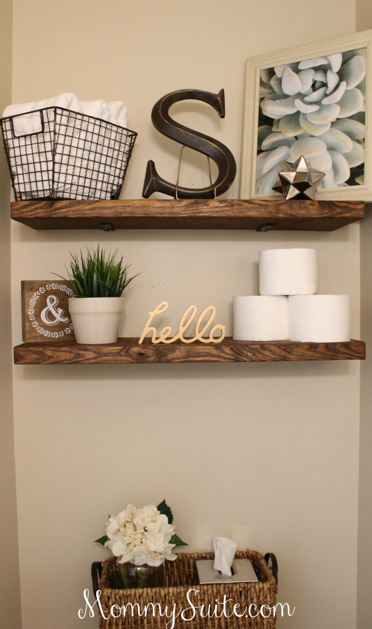 diy faux floating shelves - mommy suite