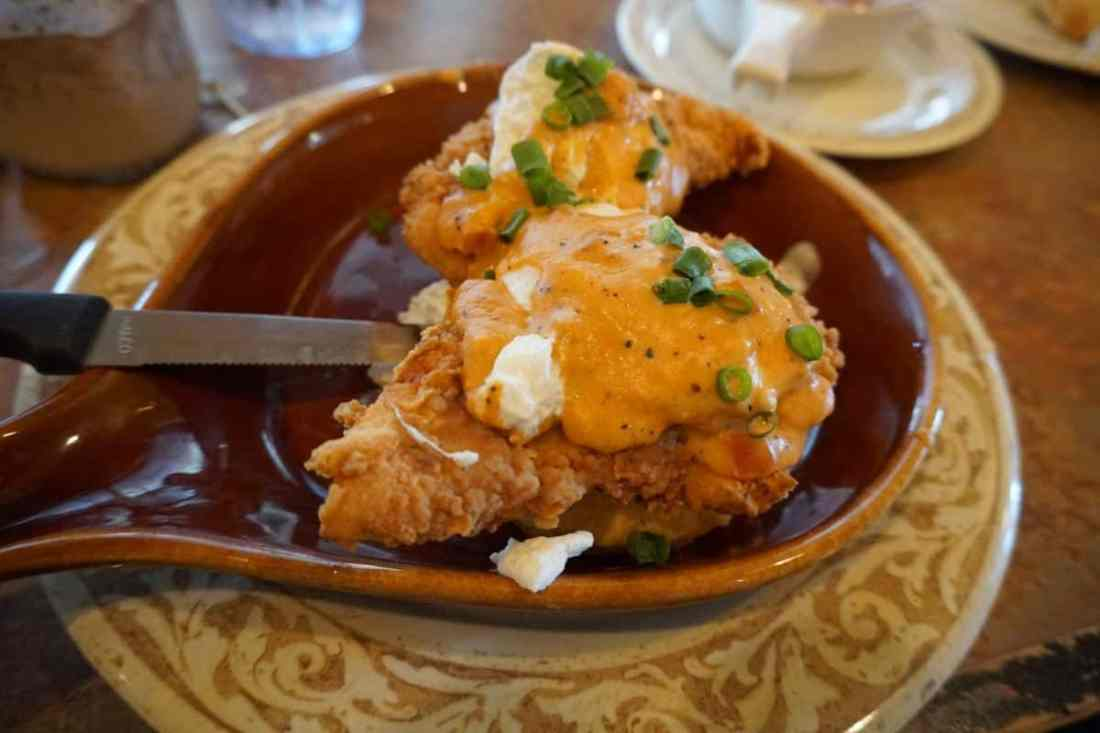 Fried Chicken Eggs Benedict at Another Broken Egg