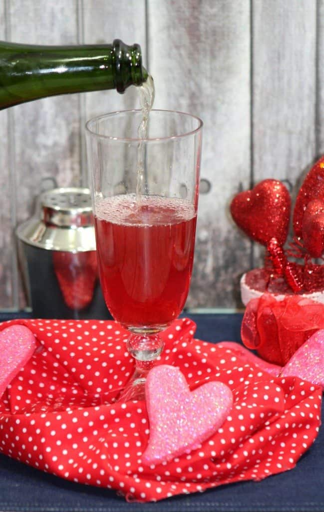 Valentines day champagne drink