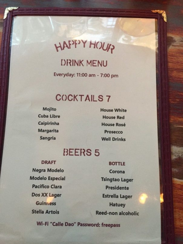 Calle Dao happy hour menu