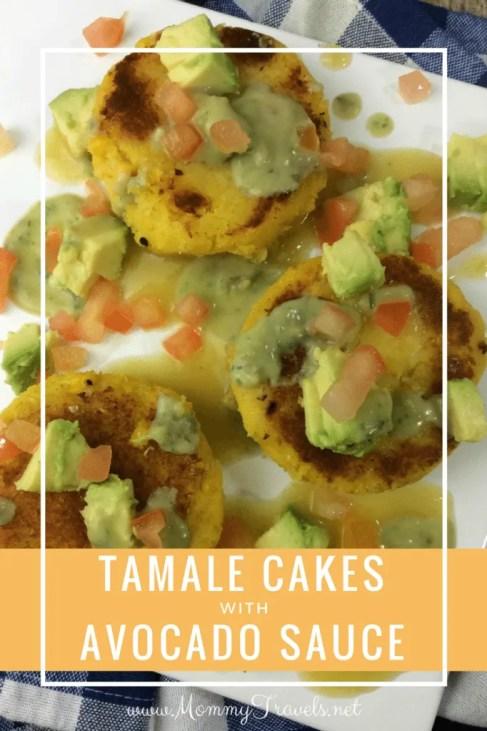 Tamale cakes with avocado sauce