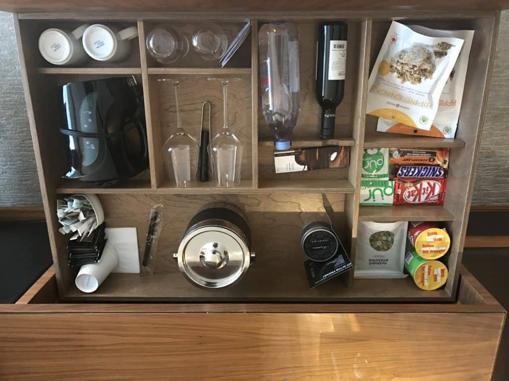 The minibar at Fairmont Pacific Rim in Vancouver Canada