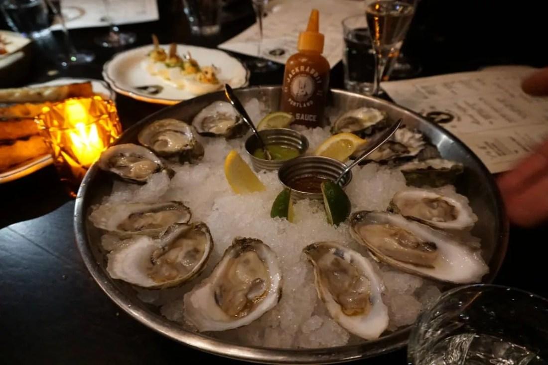 Oysters at Jackrabbit restaurant in Portland