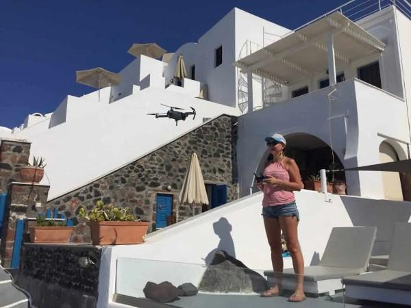 Flying the DJI Mavic Pro drone in Santorini Greece