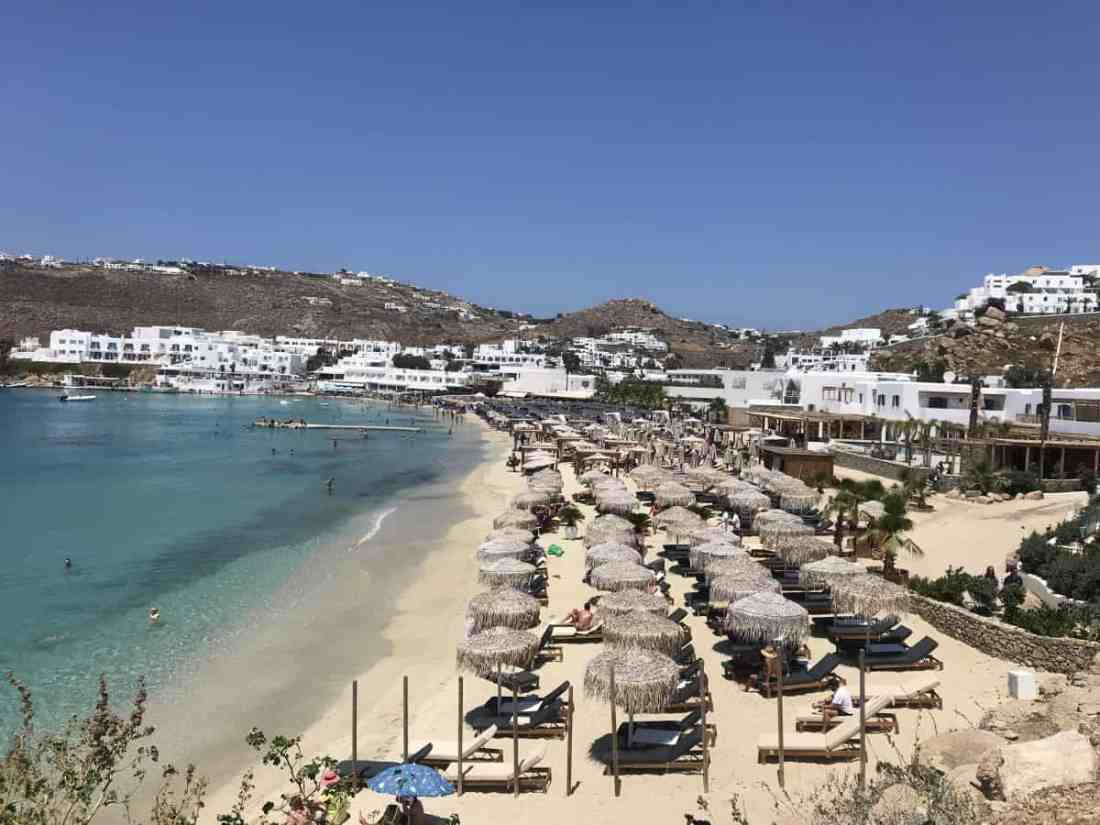 Platis Gialos Beach a family friendly beach in Mykonos