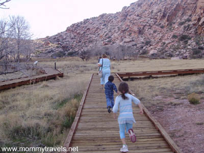 The boardwalk at Calico Basin