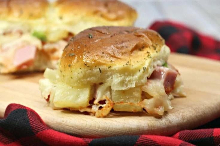 Hot and Tasty Oven Baked Hawaiian Pizza Sliders