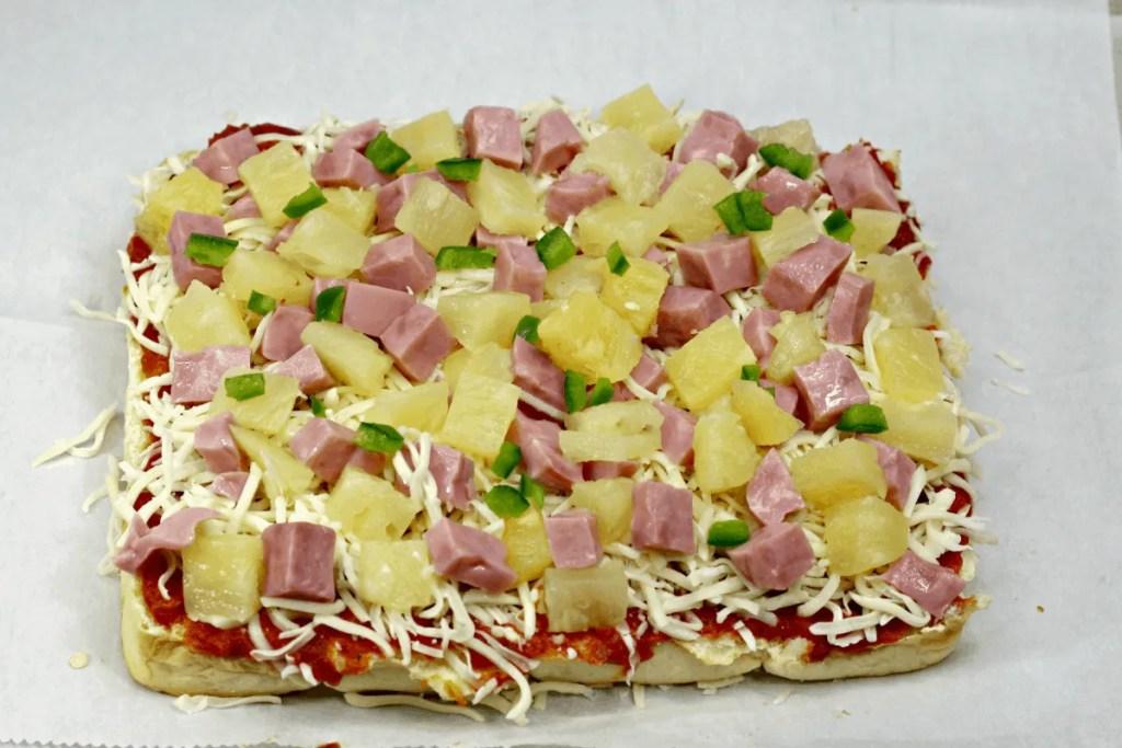 Oven baked Hawaiian pizza sliders
