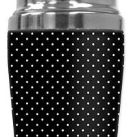 "Mugzie 857-SHA""White Polka Dots"" Cocktail Shaker with Insulated Wetsuit Cover, 16 oz, Black"