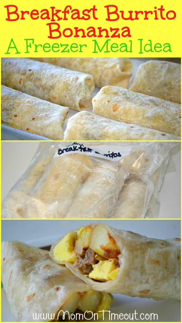 Breakfast Burrito Bonanza { A Freezer Meal Idea } Recipe | Mom On Timeout - Save time in the mornings with make-ahead freezer meal breakfast burritos!