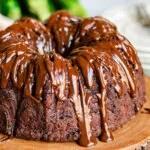 close up look at chocolate zucchini cake with chocolate glaze.