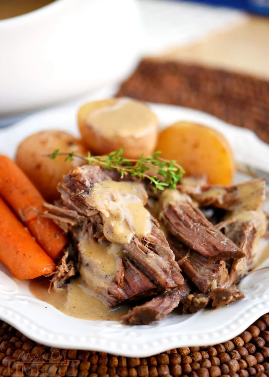 Look no further for the PERFECT POT ROAST and GRAVY recipe! Falling apart tender, extra flavorful, melt in your mouth good! And did I mention easy?? This is one recipe you need to try! // Mom On Timeout