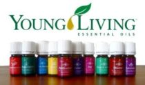 "Advertisement image of Young Living showing bottles of essential oils from the brand. Photo says ""Young Living essential oils"""