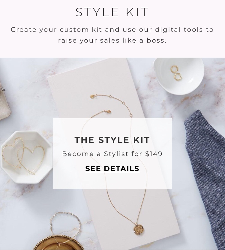 """Advertisement photo of the Stella & Dot style kit. Words in photo say """"Style Kit create your custom kit and use our digital tools to raise your sales like a boss. The style kit become a stylist for $149 see details""""."""