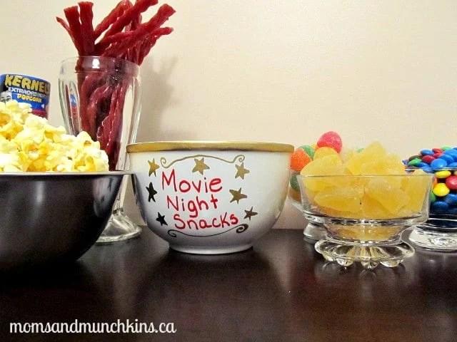 Movie Night Snacks Personalized Bowl Moms Amp Munchkins