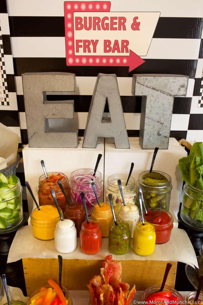 Burger and Fry Bar Ideas plus Free Printables  Moms  Munchkins
