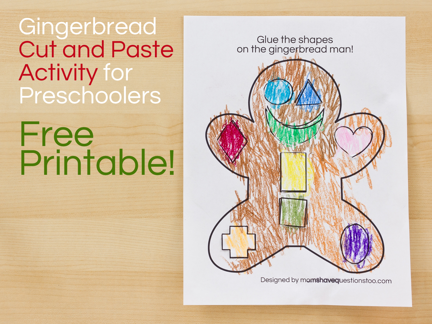 Gingerbread Man Cut And Paste Preschool Activity