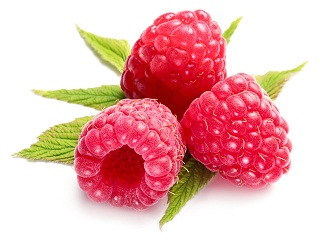 Macro shot of appetizing raspberries over white.