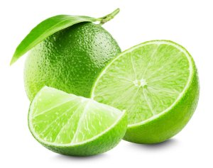Lime with slice and leaf isolated on white background.