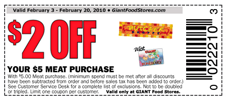Giant meat coupon Giant Printable Coupon: $2 Off $5 Meat