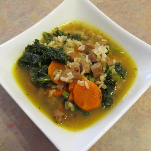 Chicken Apple Sausage, Kale, and Rice Soup