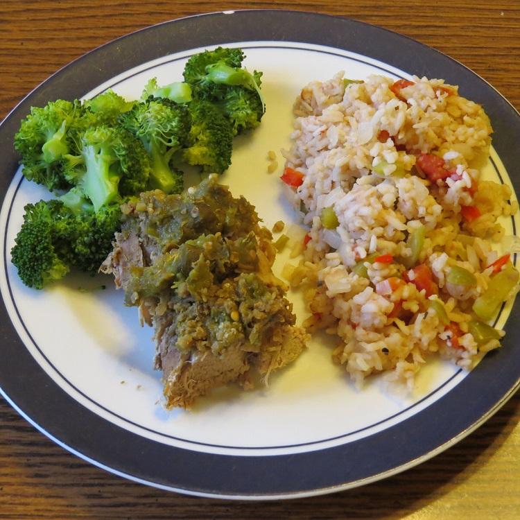 MyFreezEasy Slow Cooker Spanish Rice & Green Chili Pork Tenderloin