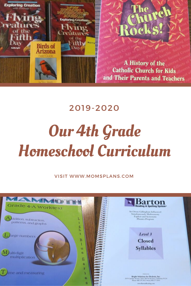 Our 4th Grade Homeschool Curriculum 2019-2020