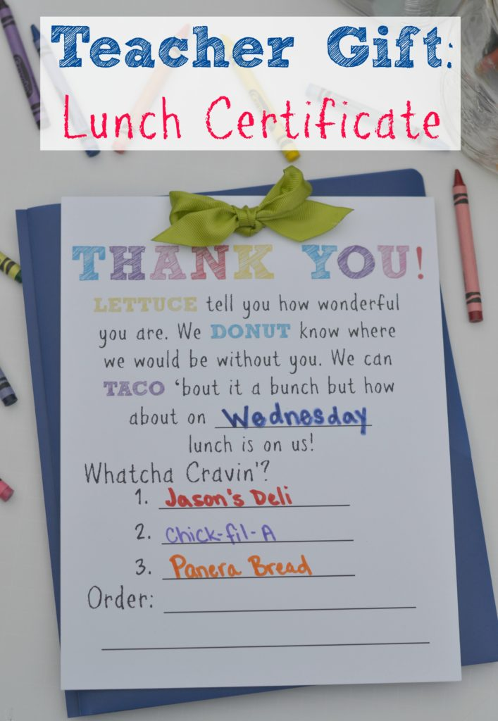 lunch certificate
