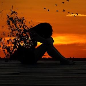sunset, a woman