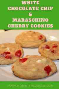 White Chocolate Chip and Maraschino Cherry Cookies - www.momwithcookies.com #cookies #recipe #maraschinocherry #whitechocolatechipcookies #dessert #baking