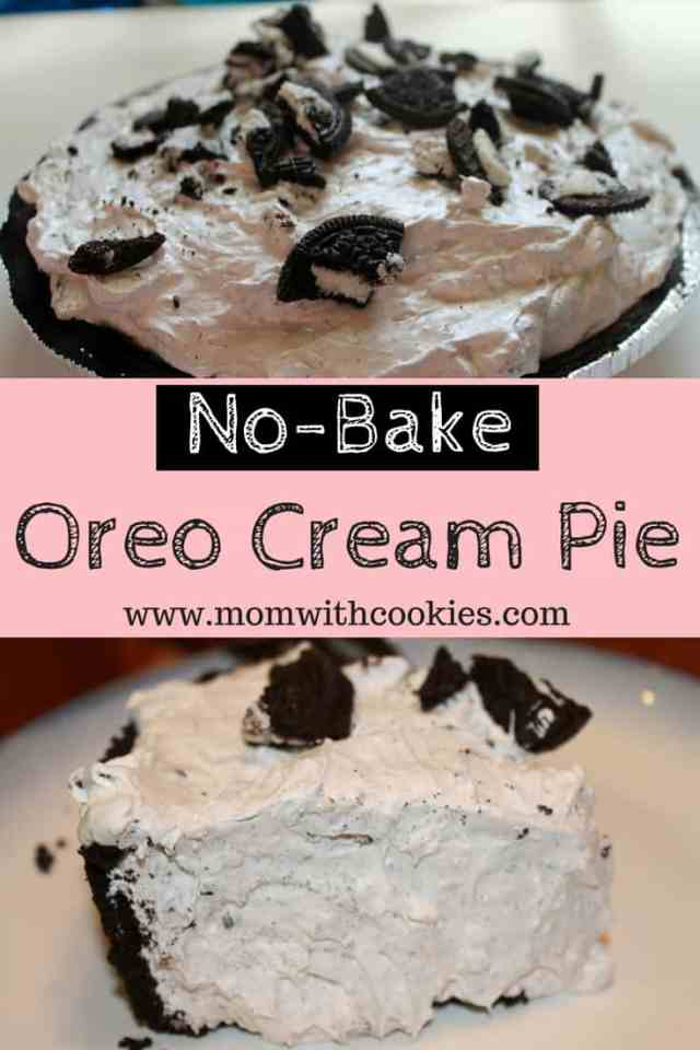 Oreo Cream Pie - www.momwithcookies.com #oreocreampie #oreocreampierecipe #oreopie #oreos #recipeswithoreos #nobakedesserts #nobakepie #nobakeoreocreampie #nobakedesserts #5ingredientdesserts #simpledesserts #easydesserts #summerdesserts