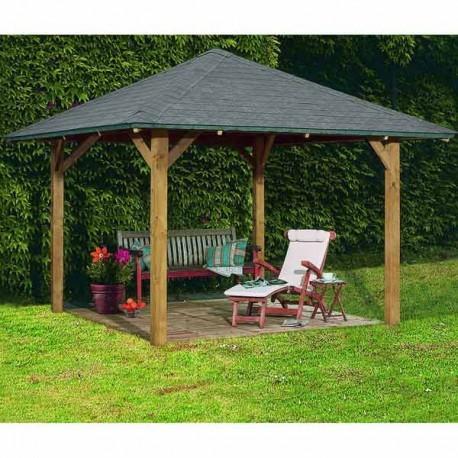 Kiosque de jardin carr en bois FSC Bergen 1  338x338m Karibu