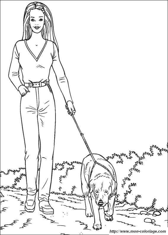 Coloriage de Barbie, dessin qui promene son chien à colorier