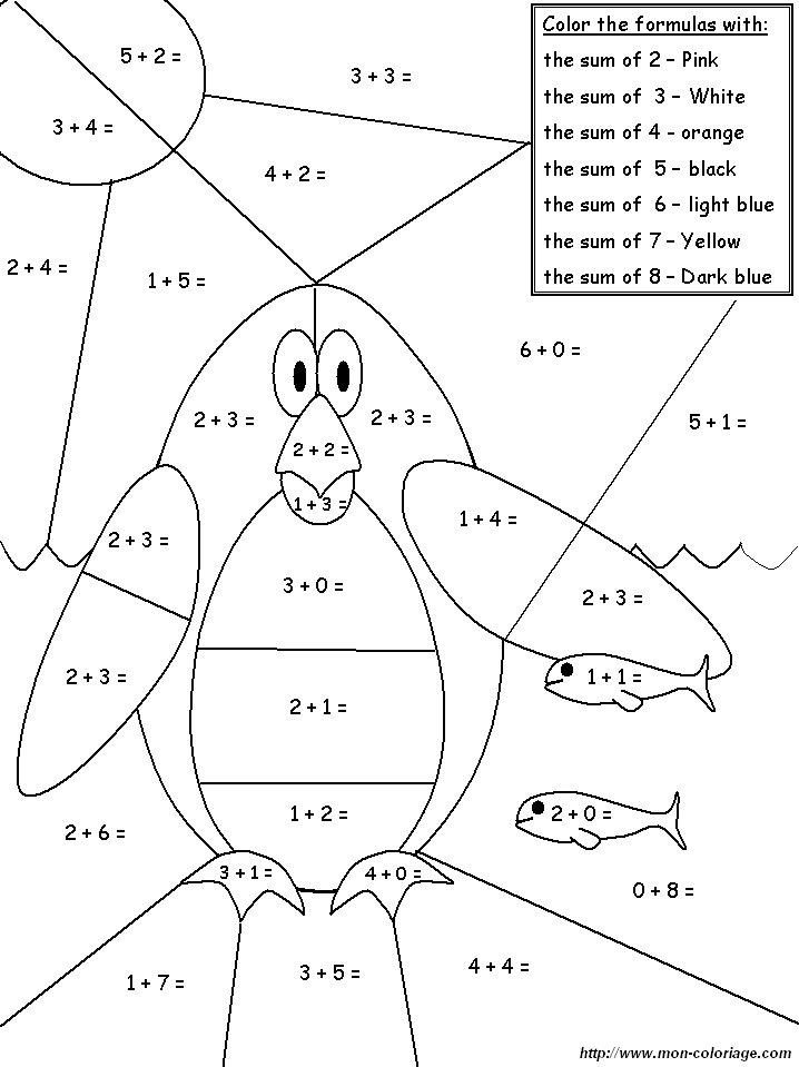 Coloriage de Coloriages magiques, dessin pingouin à colorier