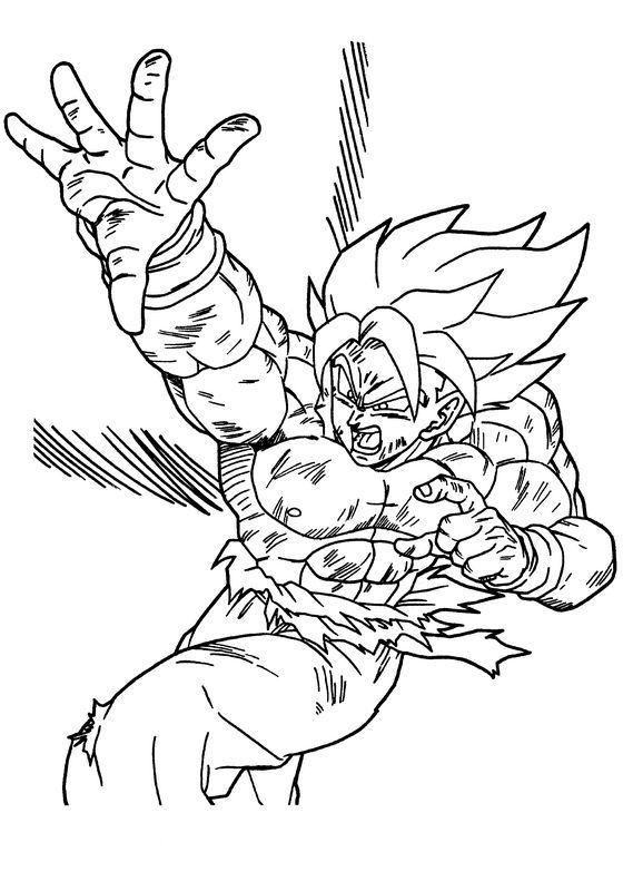 Coloriage de Manga Dragon Ball Z dessin Le combat de Goku