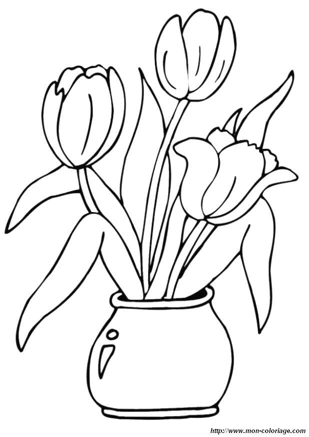 Coloriage de Fleur, dessin coloriage fleur tulipes jpg à