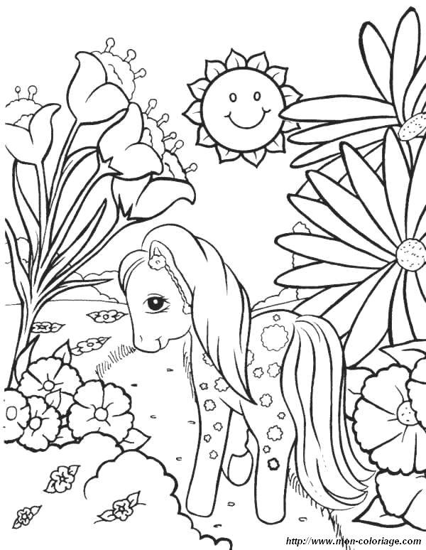 Coloriage de Fleur, dessin coloriage petit poney fleurs