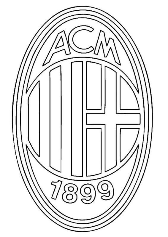 Coloriage de Football, dessin AC Milan à colorier