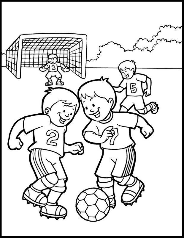 Coloriage de Football, dessin Les enfants jouent au foot à