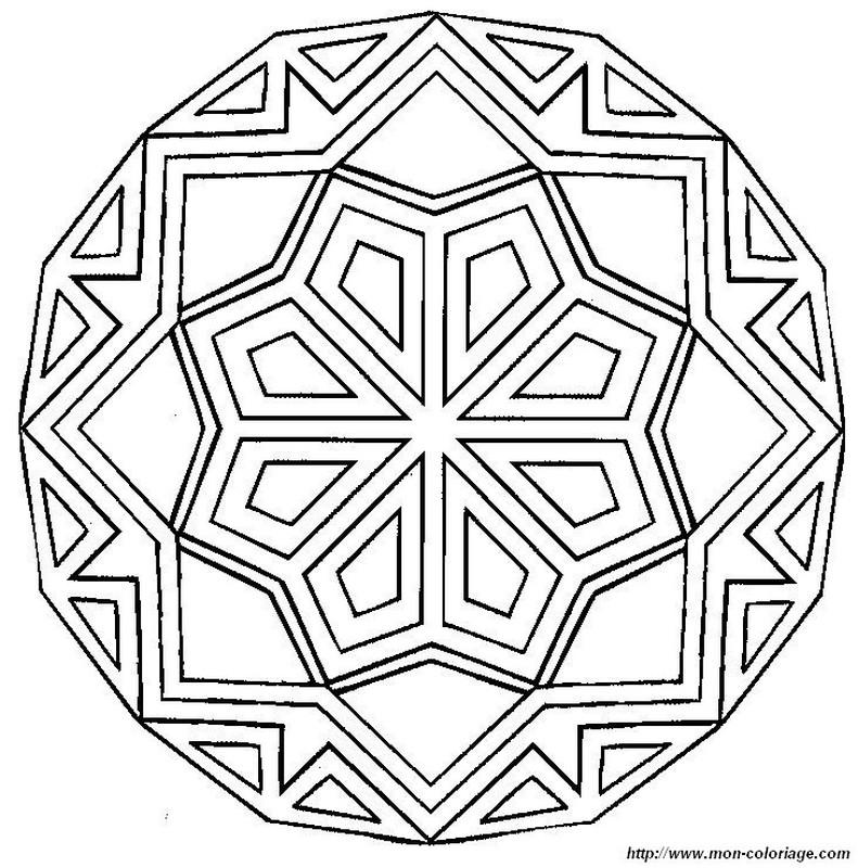 Coloriage de Mandala, dessin interessant et assez facile à