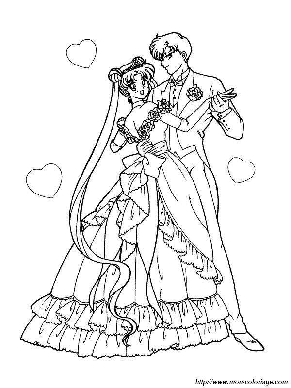 Coloriage de Mariage, dessin coloriage mariage sailor moon