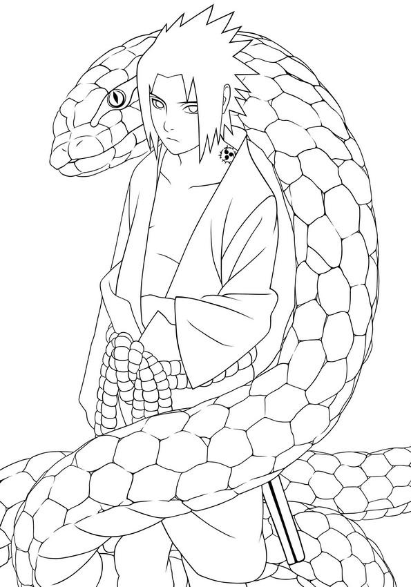 Coloriage de Naruto, dessin Le grand sage serpent blanc à