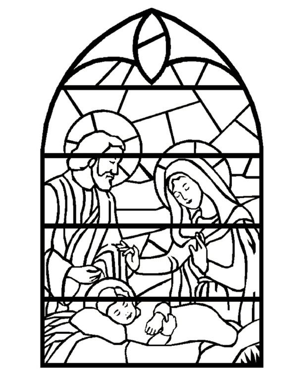 Coloriage de Noël, dessin Vitrail de la sainte naissance à