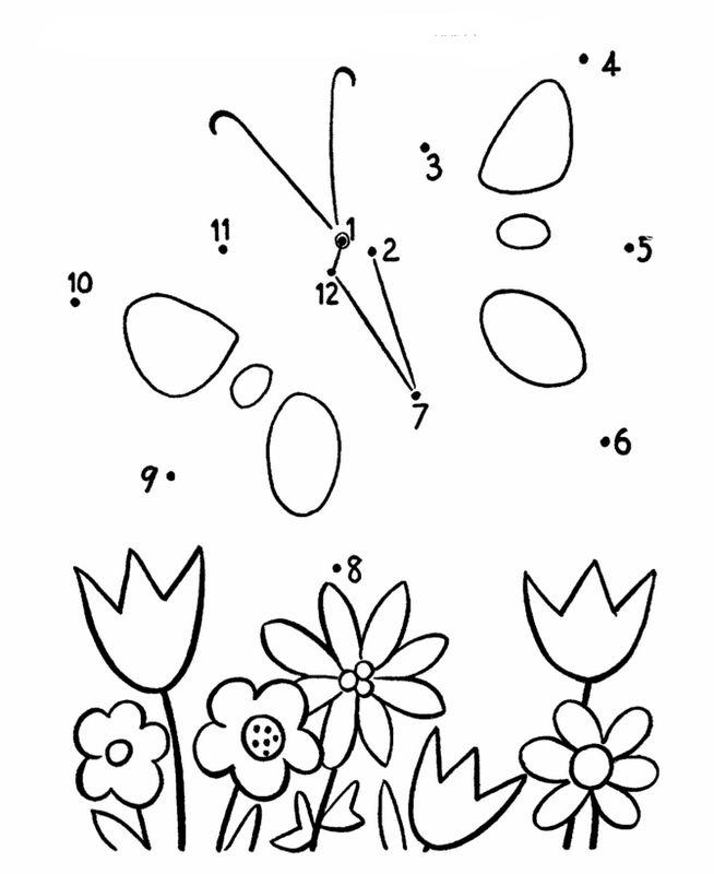 Coloriage de Points à relier, dessin Papillon et fleurs