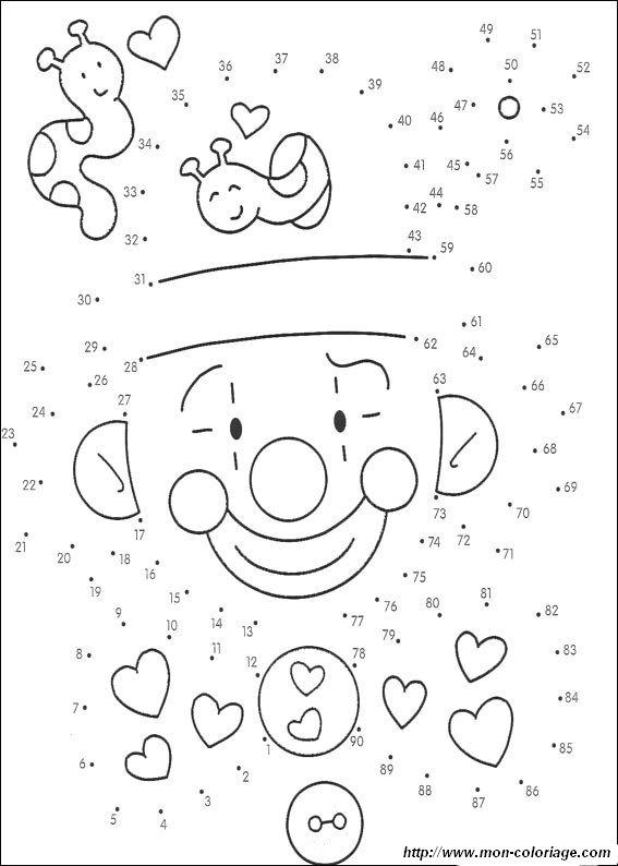 Coloriage de Points à relier, dessin relier des points 7 à