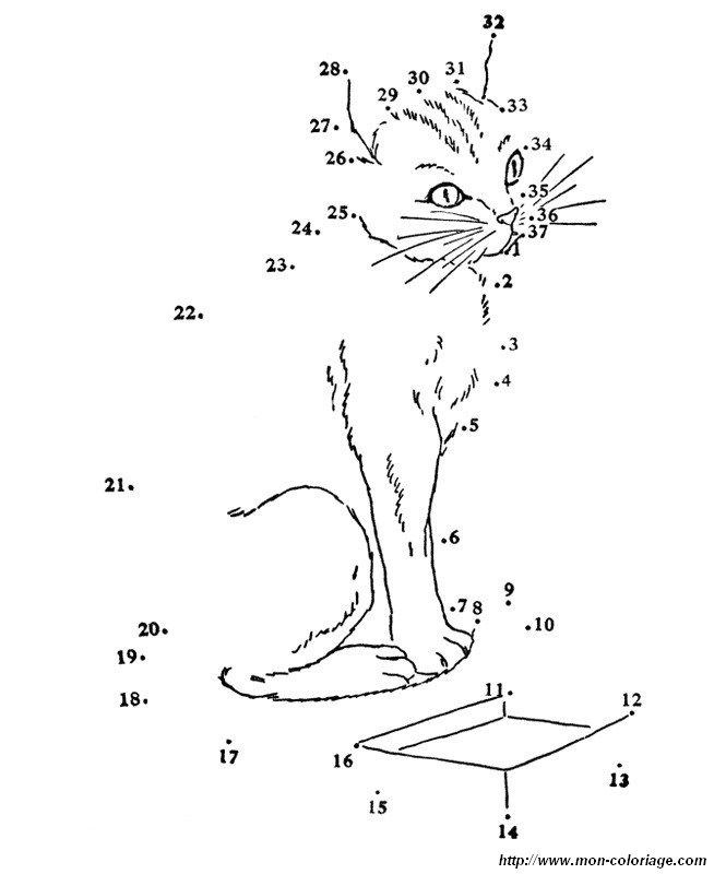 Coloriage de Points à relier, dessin un chat facile a