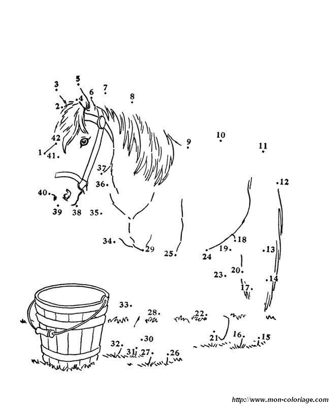 Coloriage de Points à relier, dessin un cheval a terminer